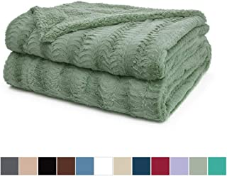 The Connecticut Home Company Luxury Faux Fur Bed Throw Blanket, Twin Size 80x60 Super Soft, Large Wrinkle Resistant Reversible Blankets, Warm Hypoallergenic Washable Throws for Beds, Sage