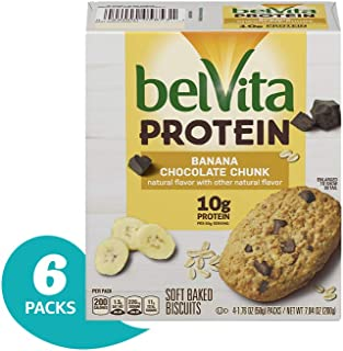belVita Protein Banana Chocolate Chunk Soft Baked Biscuits, 6Count