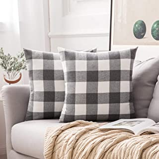 Best MIULEE Pack of 2 Classic Retro Checker Plaids Cotton Linen Soft Soild Christmas Decorative Square Throw Pillow Covers Home Decor Design Set Cushion Case for Sofa Bedroom Car 18x18 Inch, Grey and White Review