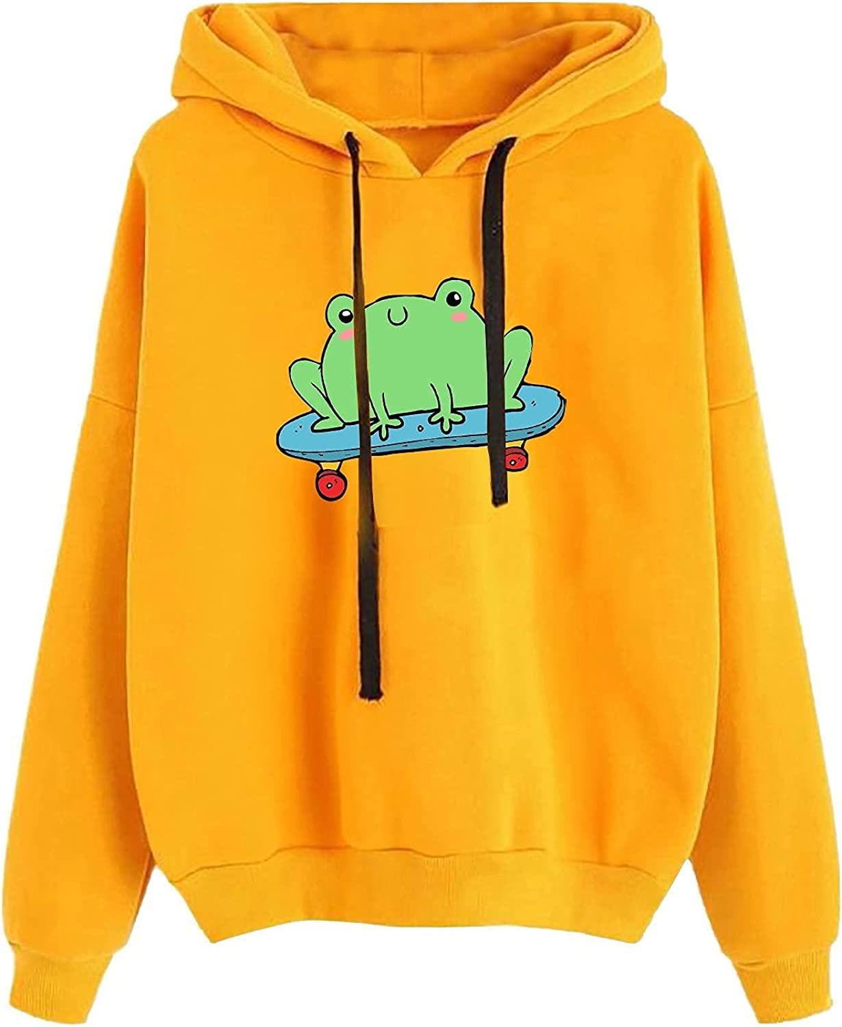 Women's Heart Print Long Sleeve Pullover Hoodies Fall Lightweight Hooded Sweatshirt Casual Tops with Pockets