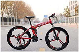 SPRAOI 24in Foldable Mountain Variable Speed Bicycle Lightweight Fashion 21 Speed Unisex Outdoor Travel Mechanical Bikes