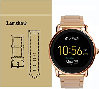 Lamshaw Smartwatch Band for Fossil Q Wander Gen 1/Gen 2,Stainless Steel Metal Replacement Straps for Fossil Q Wander Smartwatch (Rose Gold)