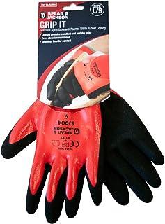 Spear & Jackson SJ004 - Guantes de látex, Color Rojo