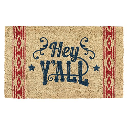 DII CAMZ10853 Indoor/Outdoor Natural Coir Easy Clean Rubber Back Entry Way Doormat for Patio, Front, Weather Exterior Doors, 18x30', Hey Y'All