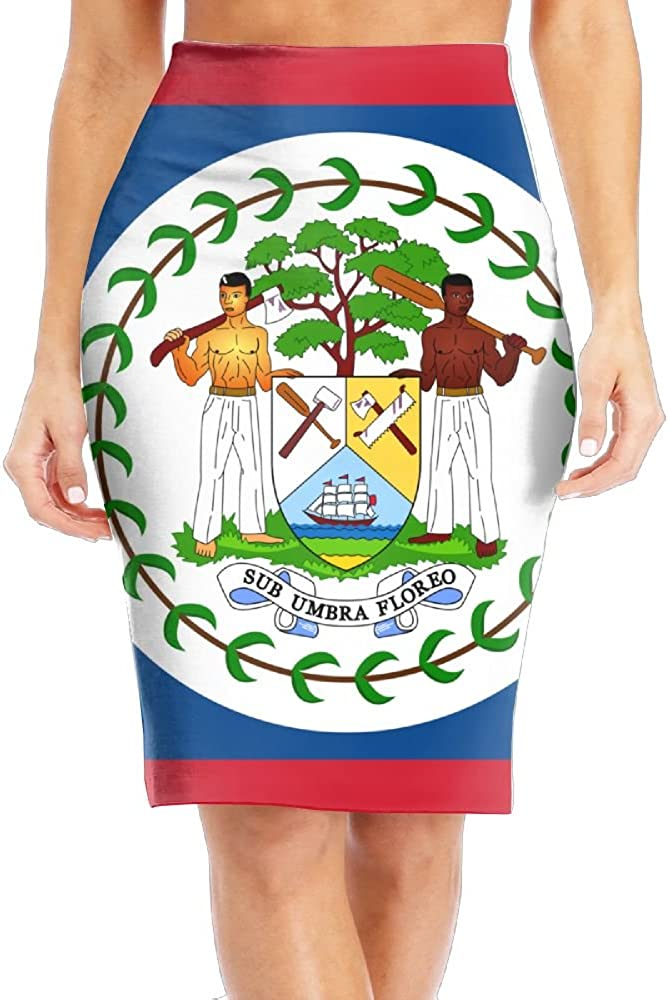 Huitong Shengshi Flag Of Belize Women's Cool Long Slim Pencil Skirt High Knee Length Office Leisure Tight Skirts