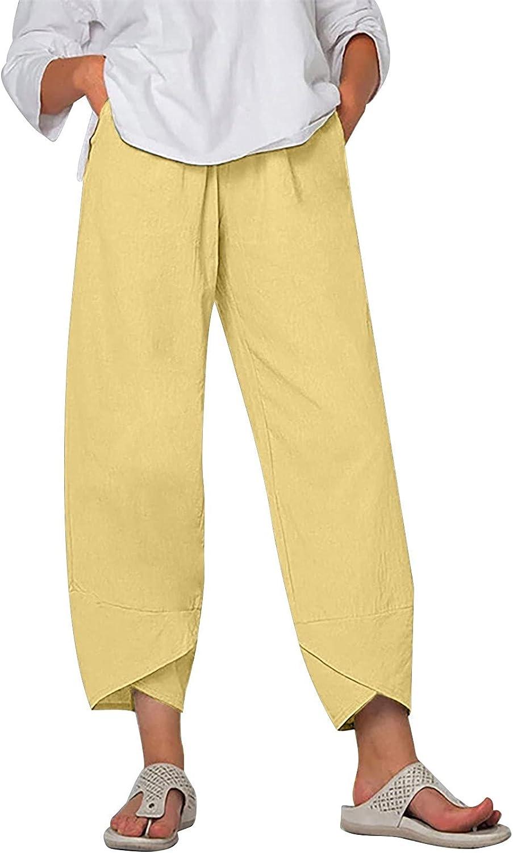 iZZZHH Women's Plus Size Pants Casual Cotton and Linen Pants 9/10 Pants Solid Color Elastic Waist Loose Pants, S-6xl