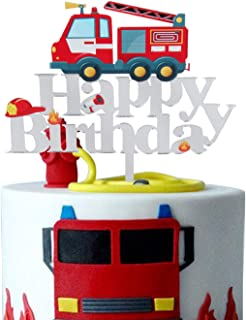 LILIPARTY Acrylic Fire Truck Happy Birthday Cake Topper Fire Fireman Theme Birthday Party Decoration Suppliers