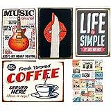 SARED Lot de 5 Affiches en Plaque métal Bouche, Guitare, Coffee, Photographie - Plaque métal Vintage décoration Mural Poster Affiche USA – 30x20cm - Idées Cadeaux (Bouche)