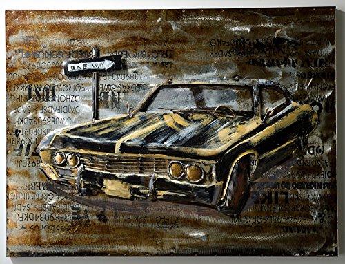 GASPO Tableau mural en métal avec effet 3D Noir 80 x 60 cm