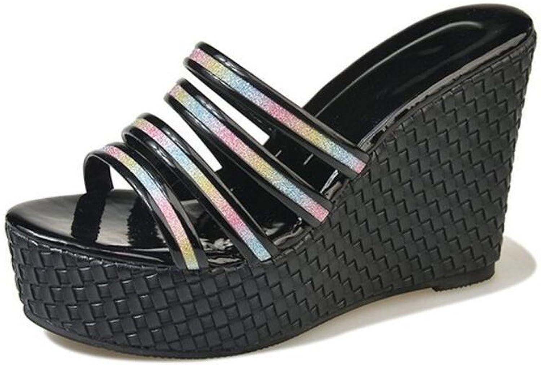 Womens Open Toe Flip Flops High Heel Platform Wedge Sandals Outdoor Holiday shoes (Black gold Silver) ( color   gold , Size   35 )