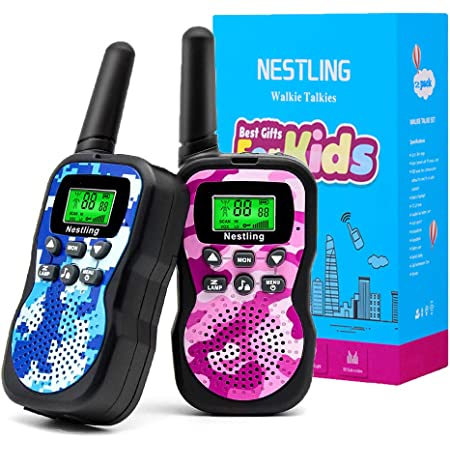 Nestling Walkie Talkie para niños, Camuflaje al Aire Libre, 8 Canales, Radio de 2 vías, Juguetes, Linterna LCD retroiluminada, Rango de 3 Millas para Actividades Infantiles (2pcs Rosa&Azul)