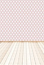 Laeacco Pastel Light Pink Polka Dots Wall Backdrop 5x7ft Vinyl Photography Background Wooden Floor Cute Childishness Pattern Photo Backdrop Newborn Baby Kids Birthday Party Children Photography