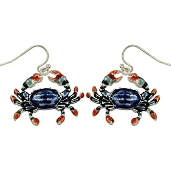 DianaL Boutique Beautiful Crab Earrings Enameled Hand Painted Cancer Zodiac Gift Boxed