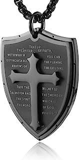 HZMAN Shield Armor of God Ephesians 6:16-17, Faith Cross Stainless Steel Pendant Necklace (Black)