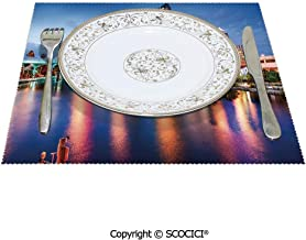 SCOCICI Polyester Non-Slip Square Kitchen Place Mats 1 Piece Hillsborough River Tampa Florida USA Downtown Idyllic Evening at Business Thick Fabric Will Not Scratch Furnitur 12