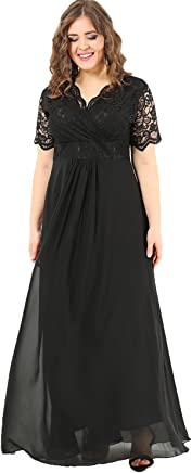 22a292b57 Angelino Boutique Plus Size Women's Full Lace Fabric Top Guipure Short  Sleeve Evening Dress Black DD793