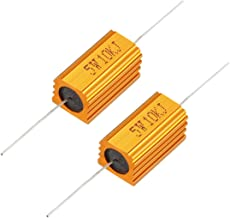 uxcell 2 Pcs Aluminum Case Resistor 5W 10K Ohm Wirewound for LED Replacement Converter 5W10KRJ