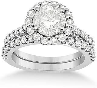 Halo Style Diamond Engagement Ring and Eternity Wedding Band Palladium Bridal Set 1.12ct