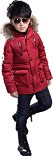 QCHENG Boys Kids Winter Warm Hooded Down Coat Puffer Jacket Mid-Long Parka Outwear Coat with Faux Fur