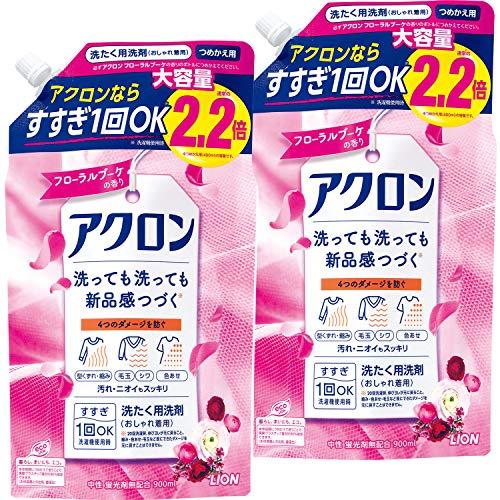 【まとめ買い 大容量】アクロン おしゃれ着洗剤 フローラルブーケの香り 詰め替え 900ml×2個