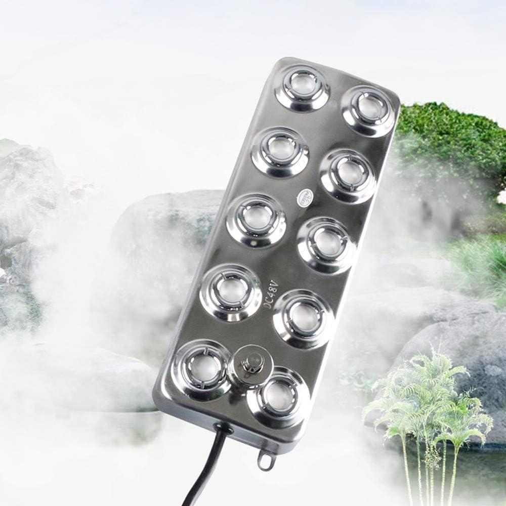 InLoveArts Mist Maker Fogger, Mist Maker Fogger Humidificador con Transformador para la Planta de jardín Fower Lawn Water Fountain Pond (10 Cabeza)