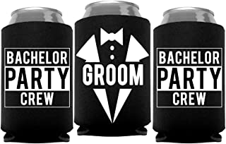 Groom and Bachelor Party Crew Squad Bachelor Party Can Coolers, Set of 12 White and Black Beer Can Coolies, Perfect Bachelor Party Decorations and as Grooms Men Gifts