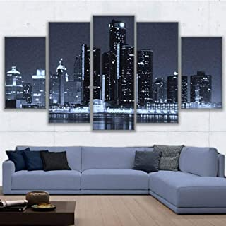 MZWLH Modern Printing Type Poster Canvas Painting Hd Print Wall 5 Panel City Detroit at Night Art Pictures Modular Vintage Home Decor
