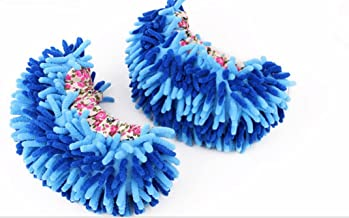 G2PLUS Unisex Multifunctional Washable Chenille Fibre House Floor Cleaning Dust Mop Slippers Foot Socks Mop Shoes (Blue)