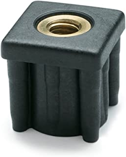 4500 Newton Static Load J.W Metric Size 22mm Inside Square Winco Inc. JW Winco 448V25V22M8 Series EN 448S Plastic Black Square Type Threaded Tube End with Molded-In Insert M8 x 1.25 Thread Size 25mm Item Length