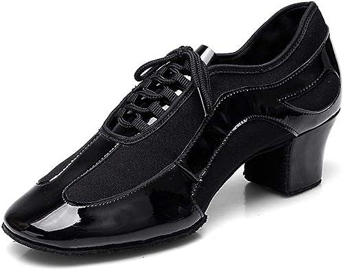 YAN schuhe de Baile de Las señoras 2019 Nuevo Oxford paño Latino schuhe de Baile schuhe de Entrenamiento Profesional Hausschuhe de Rendimiento schwarz,schwarz,35