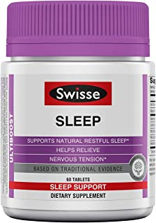 Swisse Ultiboost Sleep Support, Includes Valerian Magnesium and Licorice, 60 Tablets