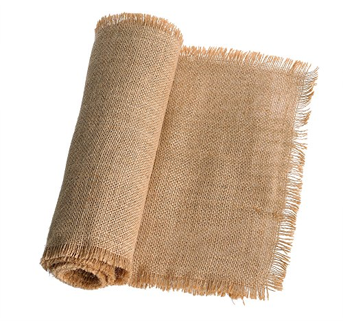 Ling's moment 12 x 108 Inches Fringe Jute Burlap Table Runner for Rustic Country Wedding Party Farmhouse Table Setting Decorations Woodland Bridal Baby Shower Decoration