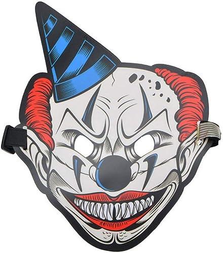 NUOKAI Belichtete Sprach-aktivierte grelle Maske Erwachsene Halloween-Horrornacht-Partei-Partei-Leuchtstoff-LED-Maske, Clown 3