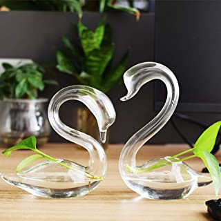 EssenceLiving 1 Pair Hand Blown Glass Swan Bud Vase for Indoor Plants or Fresh Flowers Use for Office Desk Decor Wedding Centerpieces Home Decor Great Gift for Friends