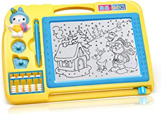 Children's Magnetic Drawing Board erasable pad Writing Painting for Kids with 2 Stamps and Abacus Child Education Learning...