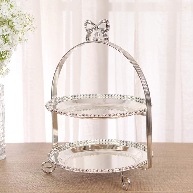 CKH Fête européenne des papillons en métal à deux étages avec support de gateau en perles Assiette de collations Assiette de fruits Assiette de fruits Pate à tarte Fournitures de mariage Fournitures