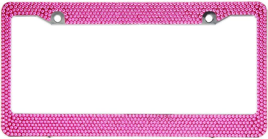 BLVD-LPF Hot New products, world's highest quality popular! Pink Crystal Rhinestone Fr License Plate ABS 67% OFF of fixed price Chrome