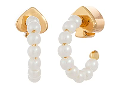 Kate Spade New York Tiny Twinkles Mini Pearl Huggies Earrings (Cream/Gold) Earring