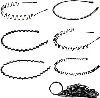 6 pezzi Cerchietto per Capelli, Fasce per Capelli in Metallo Nero per Donne e Uomini