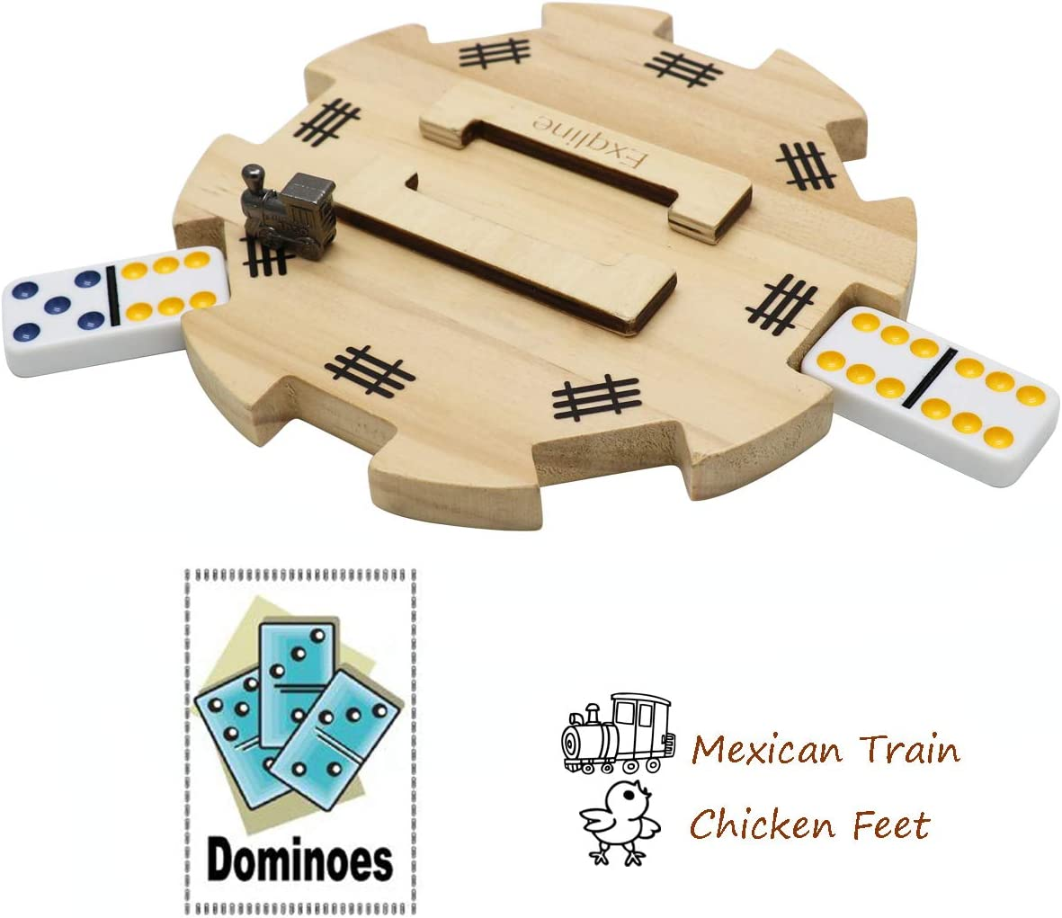Exqline Wooden Hub Domino Centerpiece Train Station for Mexican Train Dominoes Game with Felted Bottom Made of Superior Pine