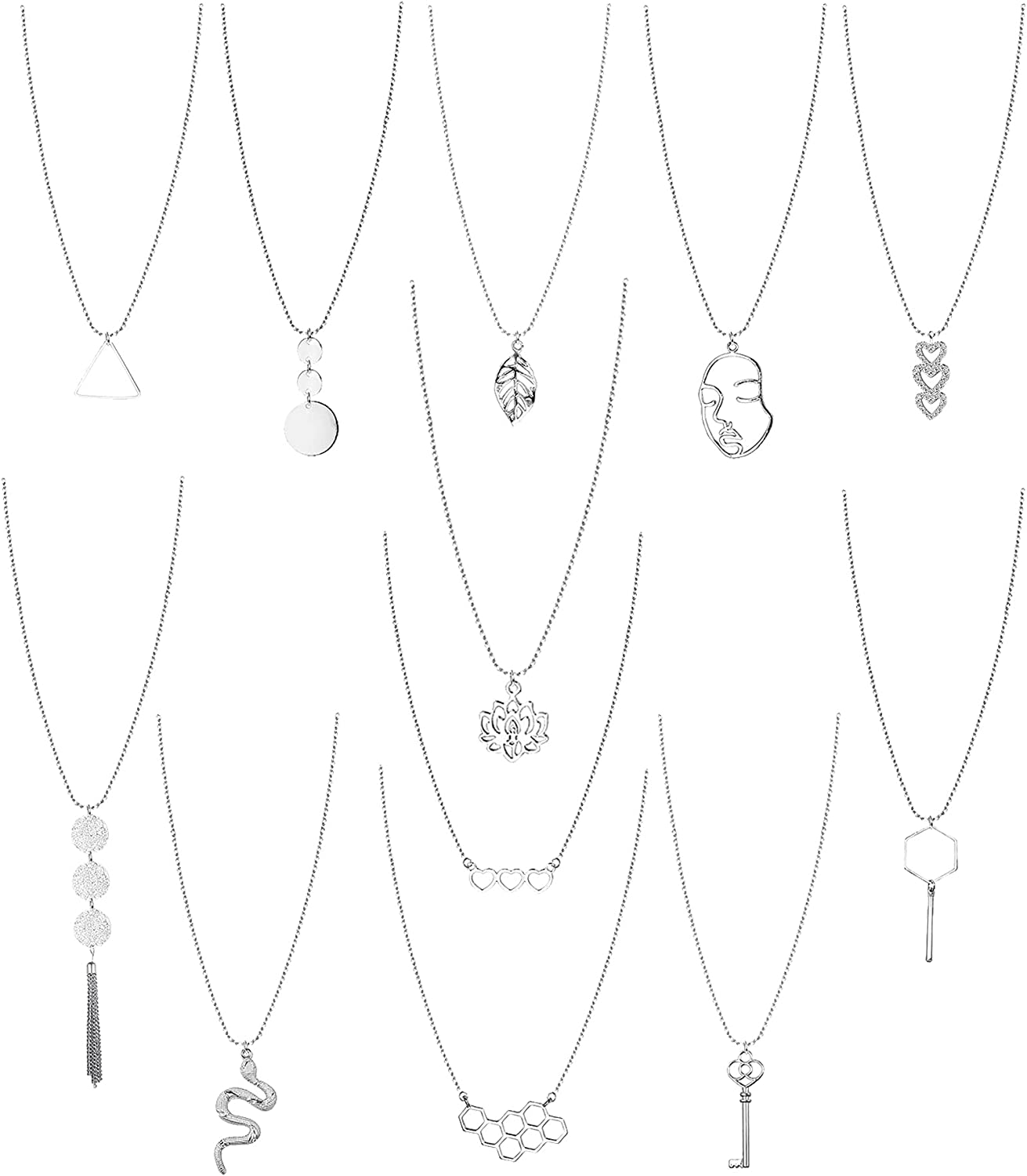 Ubjuliwa 12 Pcs Long Pendant Necklaces for Women Y-Shaped Statement Necklace Simple Heart Leaf Circle Tassel Feather Sweater Necklace Set Fashion Jewelry