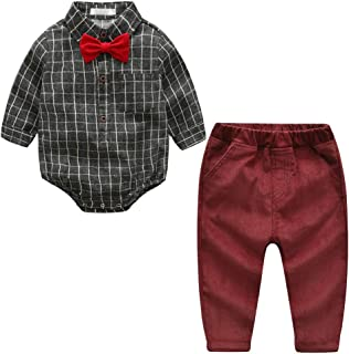 Fairy Baby Toddler Boy Gentleman 2pcs Outfit Clothes Plaid Bowtie Shirt+Long Pant Set