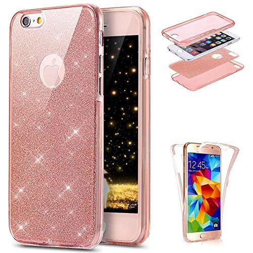 Jawsee Hoesje voor iPhone 7/8 smartphone, 360 graden, bling, glanzend, glitter, transparante TPU-silicone beschermhoes, complete hoes, fullbody case, telefoonhoes, backcover voor iPhone 7/8, roze