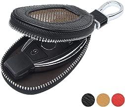 VSLIH Genuine Leather car Key fob case Smart Key case,Universal Key Bag Zipper Protective Cover Wallet Keychain (Black)