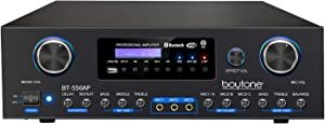 Boytone BT-550AP 4-Channel Wireless Bluetooth Stereo Power Amplifier 3000W PMPO Sound Audio Receiver with Radio, USB, RCA, Microphone Input for Home Theater Entertainment, Computer, Wireless Streaming
