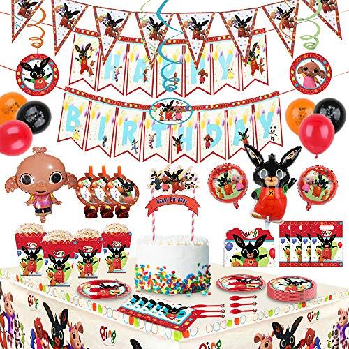 Bings Bunny Birthday Bings Forniture per feste per bambini,decorazioni per feste incluse Bings Bunny Ballons, gagliardetti, Cake Topper, biglietti d'invito, tovaglia, stoviglie, tovaglioli (200 pezzi)
