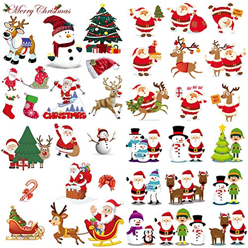 4 Sheets Christmas Iron On Patches for Kids Washable Heat Transfers Stickers Winter New Year Appliques Patches Xmas Reindeer Santa Claus Snowman Decorative Patches for Baby Clothing T-Shirt Jeans