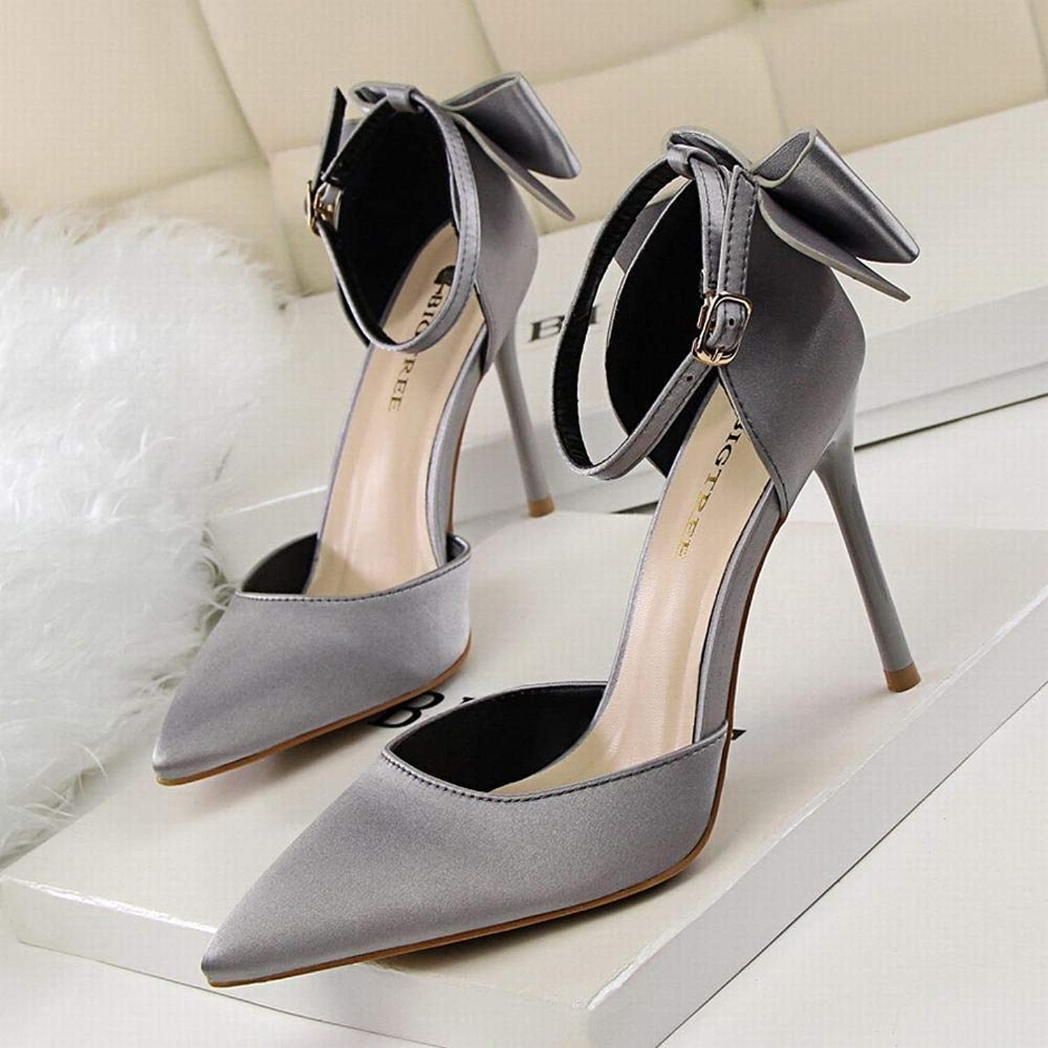Kirabon Women's Sweet Beauty shoes Stiletto High Heel Pointed Satin Bow High Heel Sandals Wedding shoes (color   Silver Grey, Size   36)