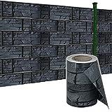 HENGMEI 35m x19cm Sichtschutzfolie PVC Sichtschutzstreifen mit Zaunfolie Befestigungsclipse Windschutz Stabmattenzaun Gartenzaun Blickdicht für Gartenzaun, Balkon (Schiefer, 35m)