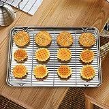 KIKIBRO SUS304 Stainless Steel Baking Sheets Sheet Pan,Cookie Sheet,Heavy Duty Stainless Steel Baking Pans,Toaster Oven Pan